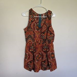 Xhilaration Teal Orange Colorful Romper